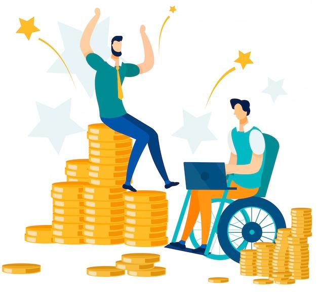 El éxito financiero y la gente de oficina de trabajo