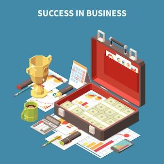 Éxito isométrico de la composición 3d de la estrategia empresarial en la descripción del negocio y la maleta con billetes de dólar e ilustración de cosas personales