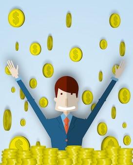 Éxito del joven empresario con fondo de monedas en ilustración vectorial 3d