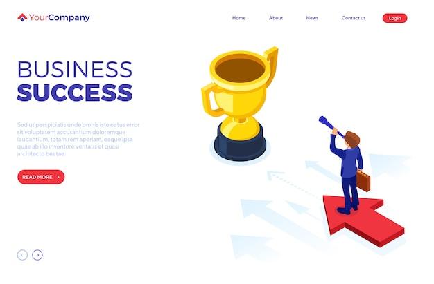 Éxito en el negocio. el empresario isométrico se encuentra en la flecha y mira a través del catalejo en busca de nuevas oportunidades.