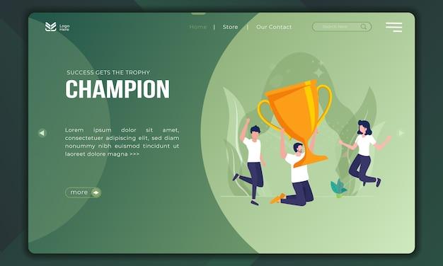 El éxito obtiene el trofeo, somos campeones en la ilustración plana