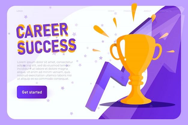 Éxito profesional con copa de campeón en estilo plano, copa ganadora moderna. concepto de página de aterrizaje de éxito profesional, vector