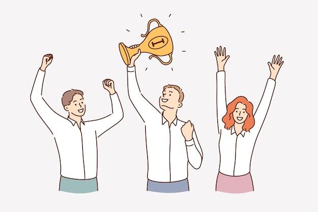 Éxito del trabajo en equipo celebrando el concepto de la victoria