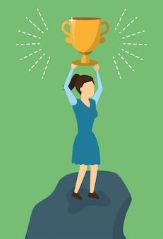 Éxito del trofeo de negocios mujer, estilo plano
