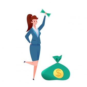 Exitosa mujer de negocios en la falda con billetes por encima de la cabeza con una bolsa verde llena de dólares cerca de ella. concepto de inversión, ahorro y ganancias.