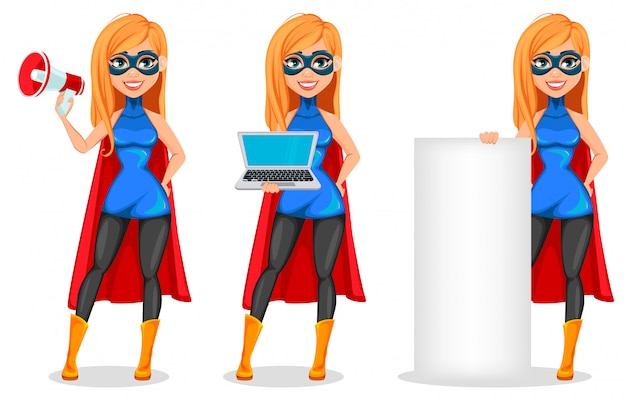 Exitosa mujer vestida con traje de superhéroe