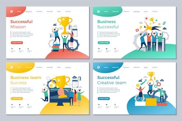Exitoso aterrizaje de negocios. plantilla de diseño de páginas web feliz gerente de inversores de finanzas director director recompensas ganadoras buen trato