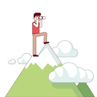 Exitoso hombre de negocios de pie en la cima de la montaña