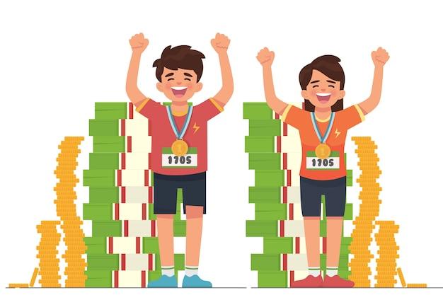 Exitoso joven deportista celebra con dinero y medalla.