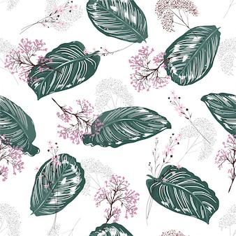 Exóticas hojas botánicas tropicales de patrones sin fisuras