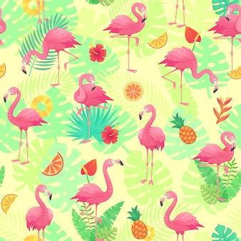 Exóticos flamencos rosados, plantas tropicales y flores de jungla monstera y hojas de palmera.