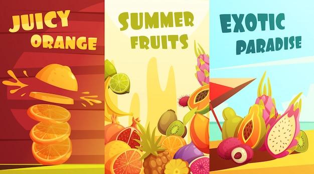 Exóticos jugosas frutas tropicales pancartas verticales composición cartel para viajeros de vacaciones de verano