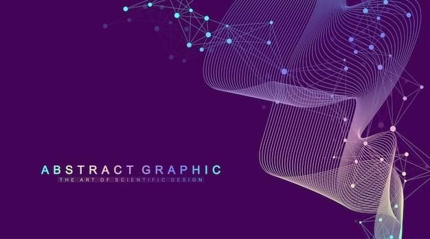 Expansión de vida. fondo de explosión de colores con líneas y puntos conectados, flujo de ondas. tecnología de visualización cuántica. explosión de fondo gráfico abstracto, ráfaga de movimiento, ilustración.