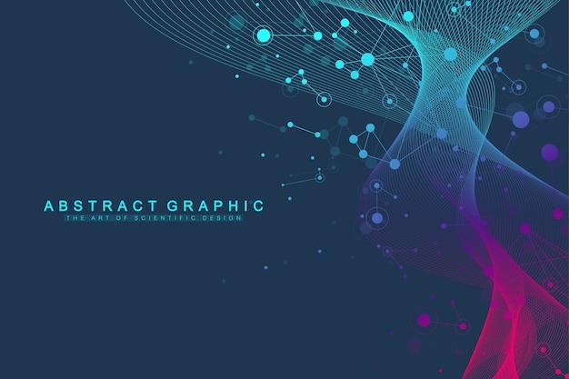 Expansión de vida. fondo de explosión de colores con líneas y puntos conectados, flujo de ondas.