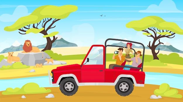 Expedición africana ilustración plana. sabana con río. grupo turístico en coche fotografía familia de leones. mujer y hombre fotografían criaturas. personajes de dibujos animados de animales y personas