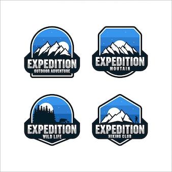 Expedición colección de aventura al aire libre logos