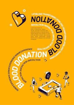 Experiencia de donante de cartel isométrico de donación de sangre.