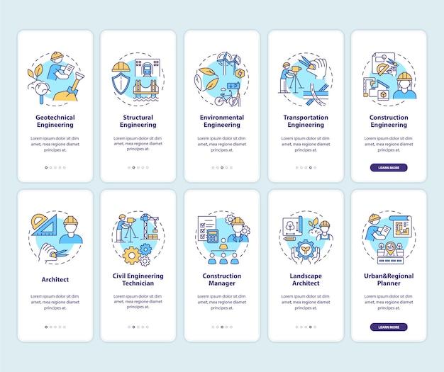 Experiencia en ingeniería incorporando la pantalla de la página de la aplicación móvil con ilustraciones de conjuntos de conceptos
