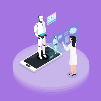 Experiencia de interacción del robot humano con composición de fondo isométrica de plataforma programable con humanoide en la pantalla del teléfono inteligente
