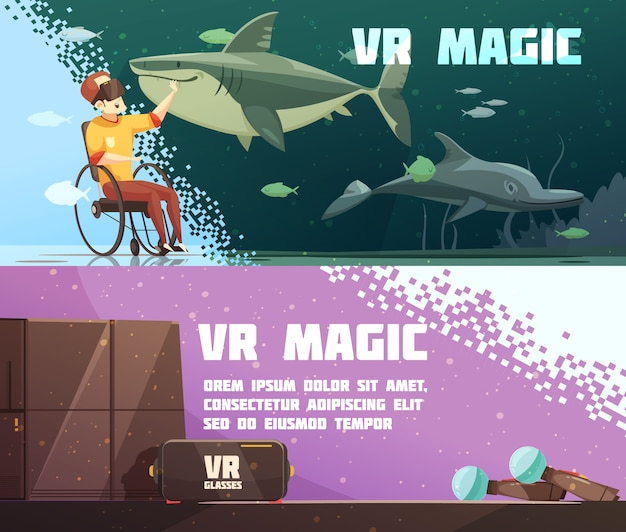Experiencia de realidad virtual banners horizontales