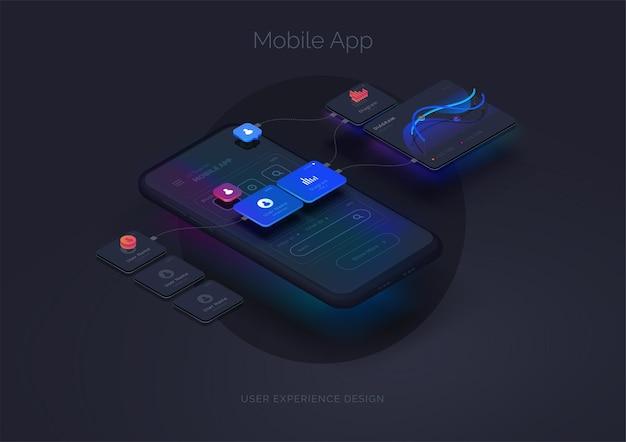 Experiencia de usuario ilustración 3d de maqueta de teléfono inteligente