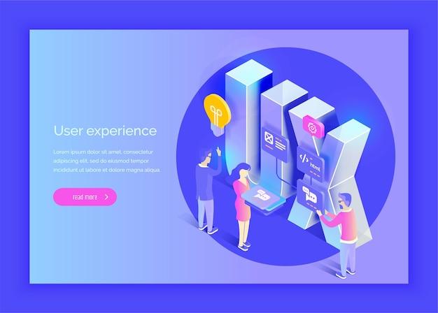 Experiencia de usuario las personas interactúan con partes de la interfaz crear una experiencia de usuario estilo isométrico de ilustración vectorial moderna