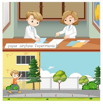 Experimento de avión de papel con niños científicos