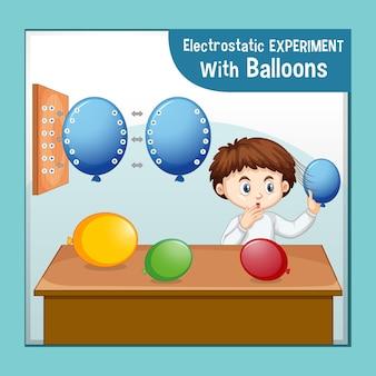 Experimento de ciencia electrostática con niño científico