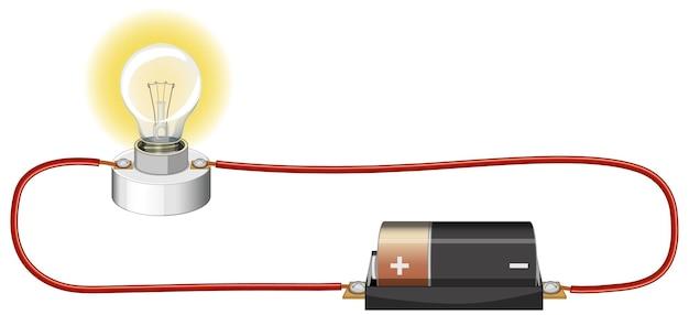 Experimento científico del circuito eléctrico.