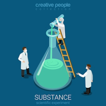 Experimento científico descubrimiento de nuevas sustancias plano isométrico