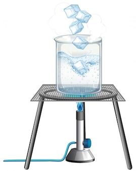 Experimento científico con hielo ardiendo en el quemador