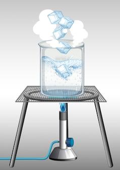 Experimento científico con hielo ardiendo en el vaso