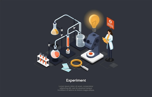 Experimento científico ilustración conceptual en estilo de dibujos animados 3d en la oscuridad.