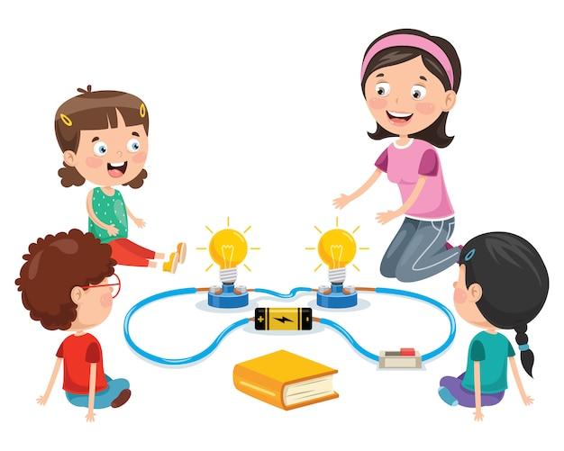 Experimento de circuito eléctrico simple para educación infantil