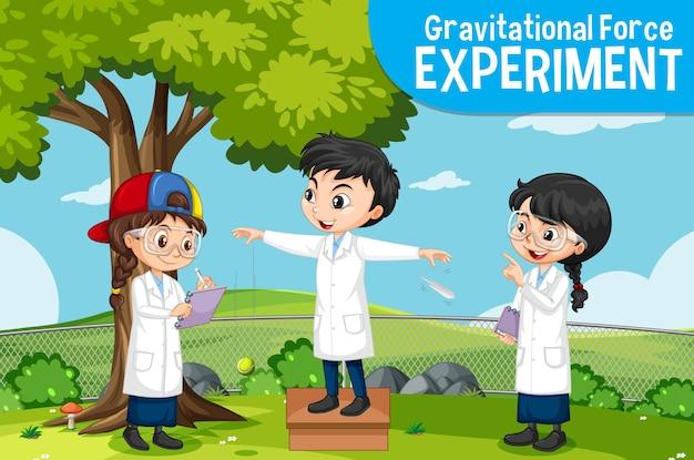 Experimento de fuerza gravitacional con personaje de dibujos animados de niños científicos
