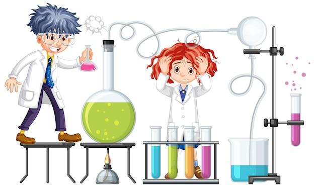 Experimento del investigador con elementos químicos.