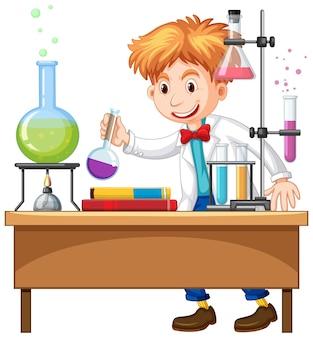 Experimento del investigador en el laboratorio.