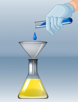 Experimento químico con diferentes químicos.