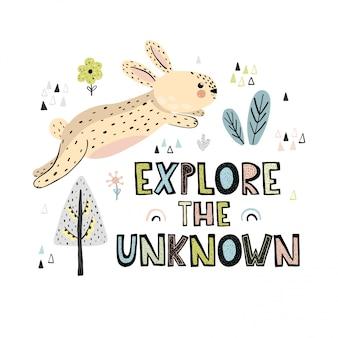 Explora las letras dibujadas a mano desconocido. linda tarjeta o estampado con conejo.