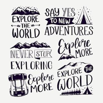 Explora las montañas de letras de camping.