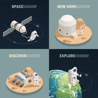 Exploración espacial 4 composición isométrica