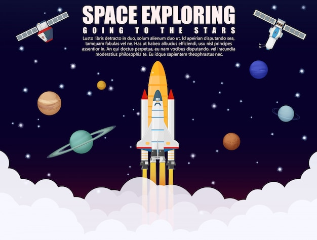 Exploración espacial del lanzamiento del cohete.