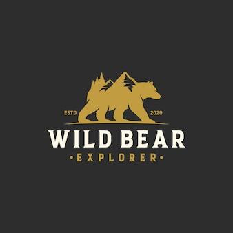 Explorador de aventuras del logotipo del oso salvaje