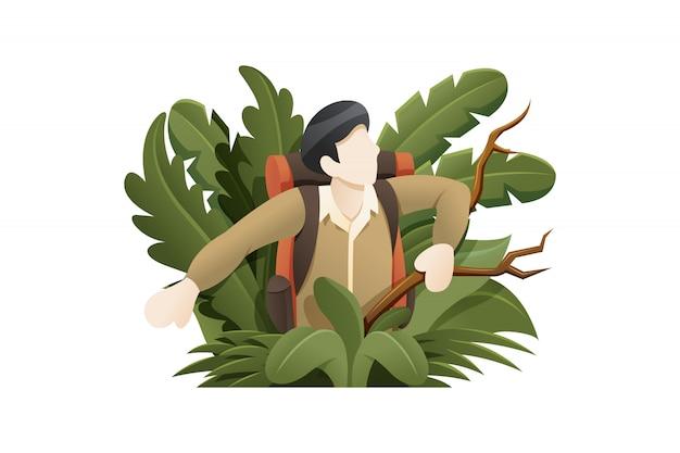 Explorador de ilustración perdido en el bosque
