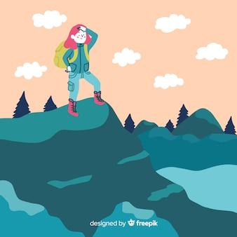 Explorador con mochila