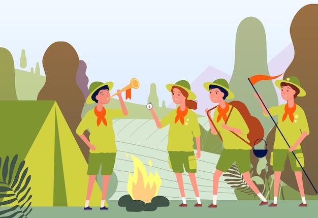 Exploradores de camping. fogata en el bosque y niños felices en uniforme sentado concepto plano de aventura al aire libre. campamento de fogata, actividad de viaje en la ilustración infantil