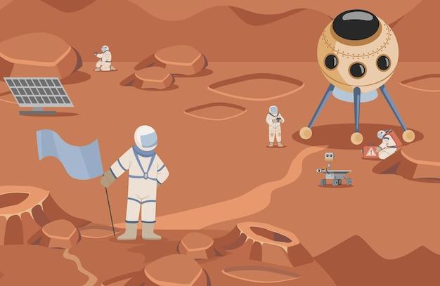 Exploradores espaciales en trajes espaciales haciendo investigaciones vector astronautas de ilustración plana