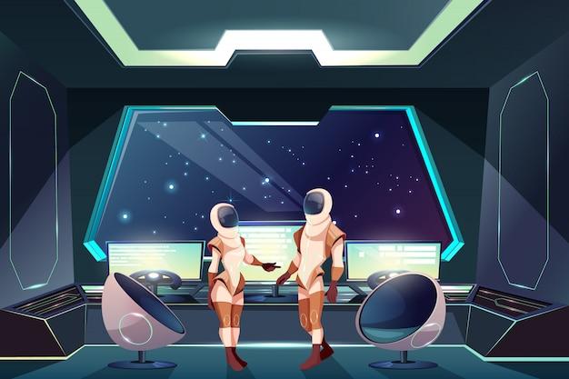 Exploradores del espacio exterior o ilustración de dibujos animados de viajeros con mujeres y hombres astronautas