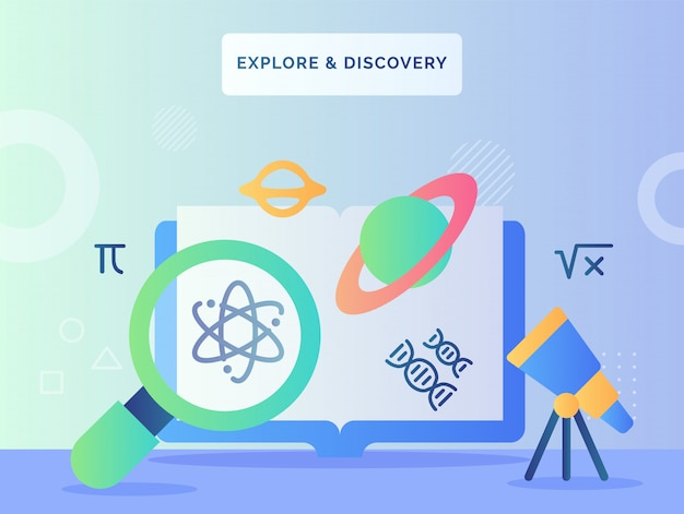 Explorar y descubrir el concepto lupe buscando icono de átomo telescopio mirar planeta saturno en computadora frontal con estilo plano.
