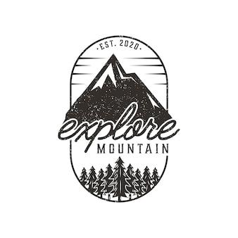 Explorar plantilla de diseño de logotipo vintage de montaña